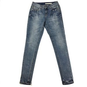 DKNY Jeans Whiskered & Faded Skinny Jean